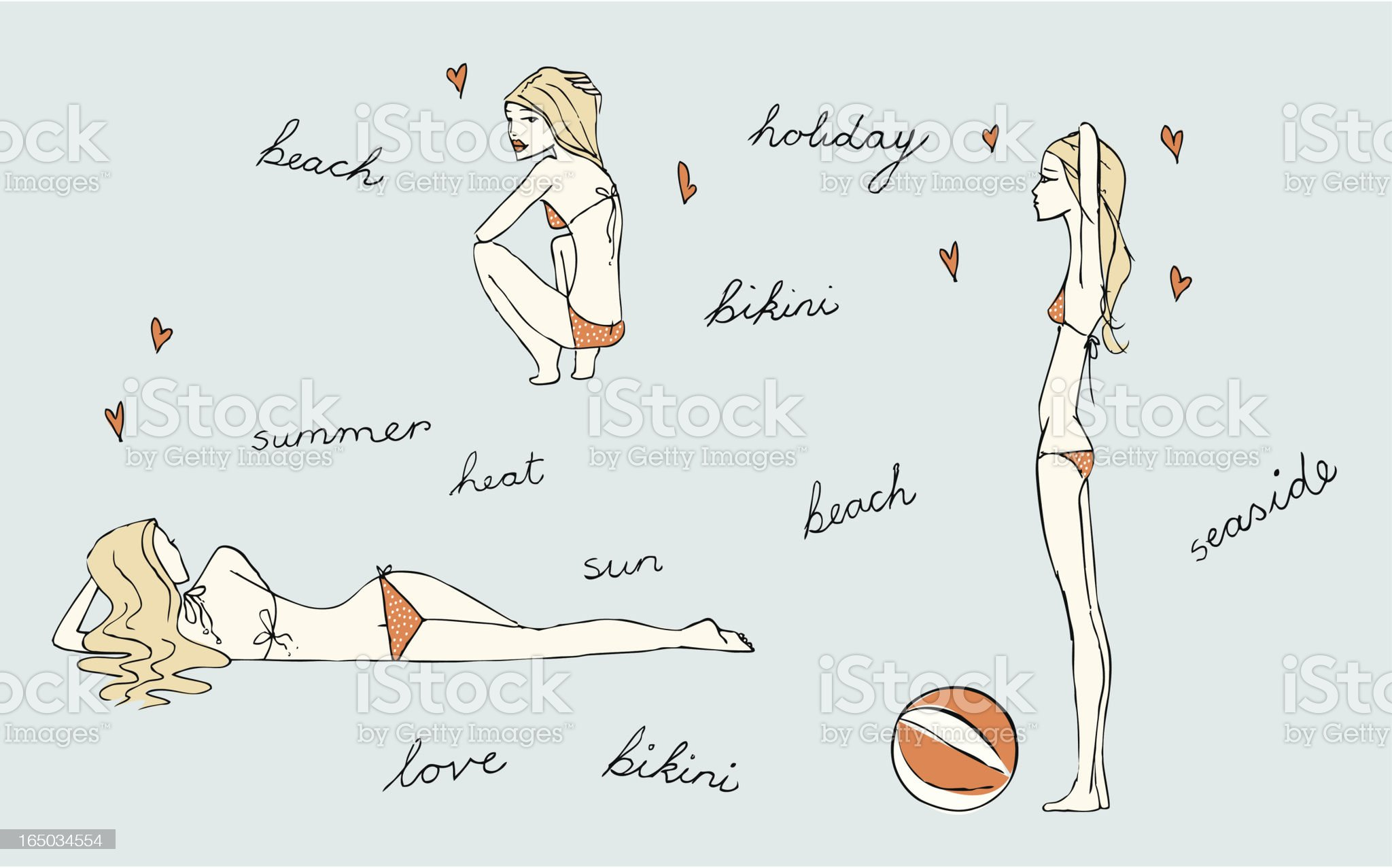 Bikini girls royalty-free stock vector art