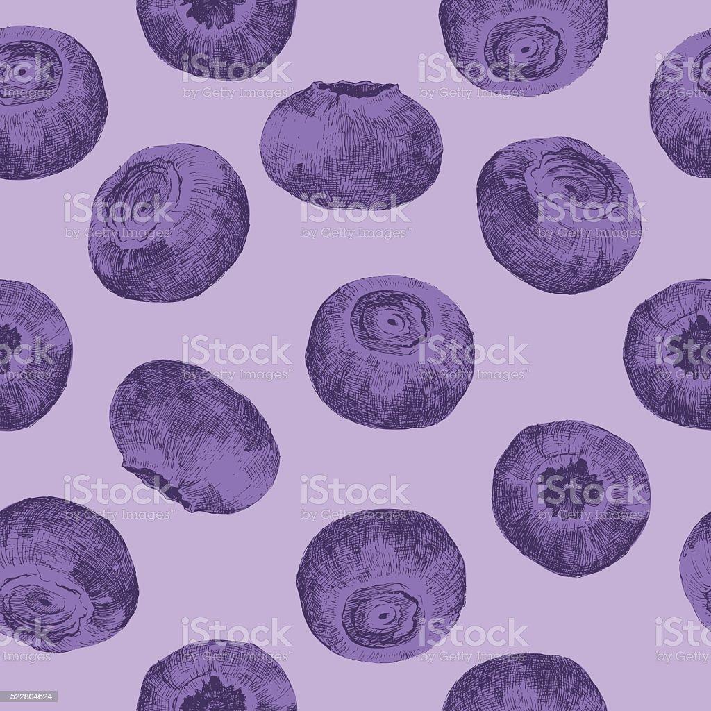 Bilberries seamless vector art illustration