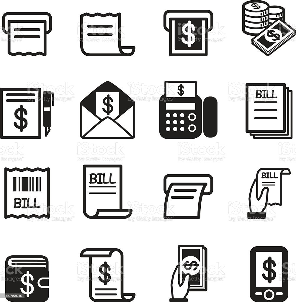 Bill , money , income icons set vector art illustration