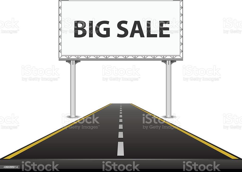 Billboard on the highway vector art illustration