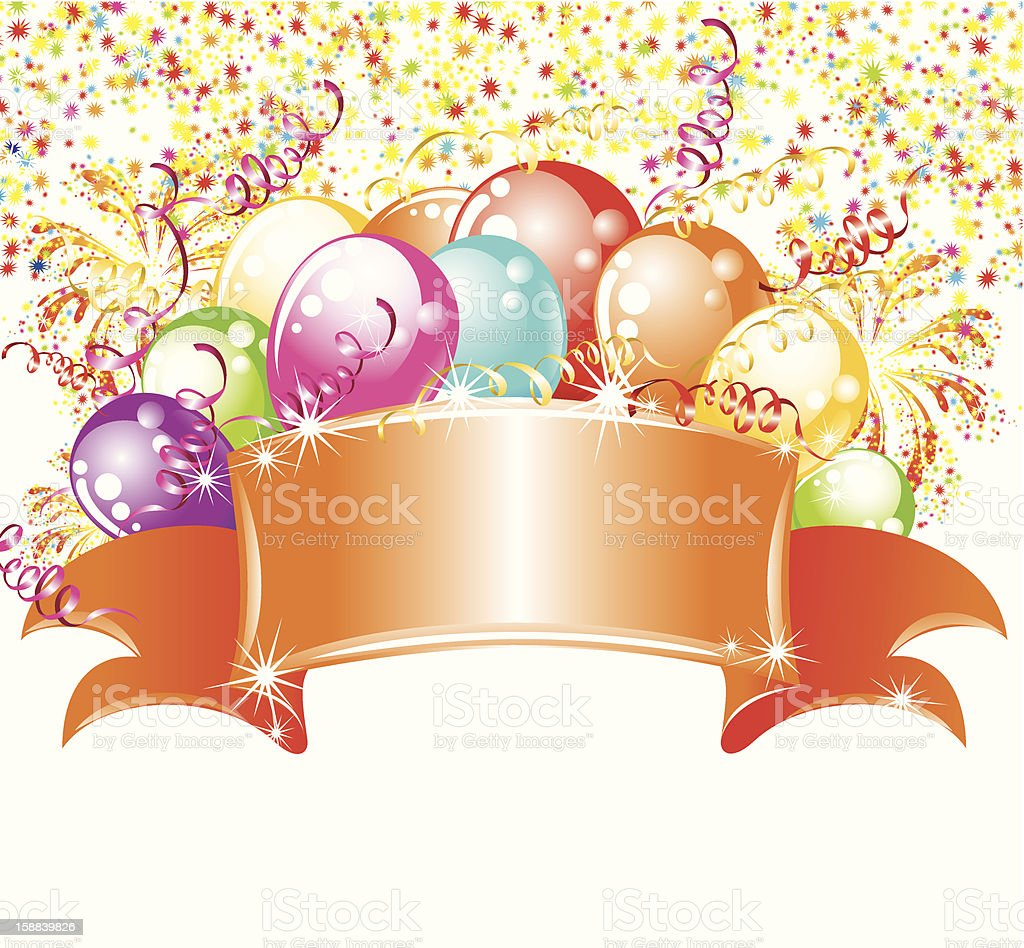 Billboard with balloons and confetti royalty-free stock vector art