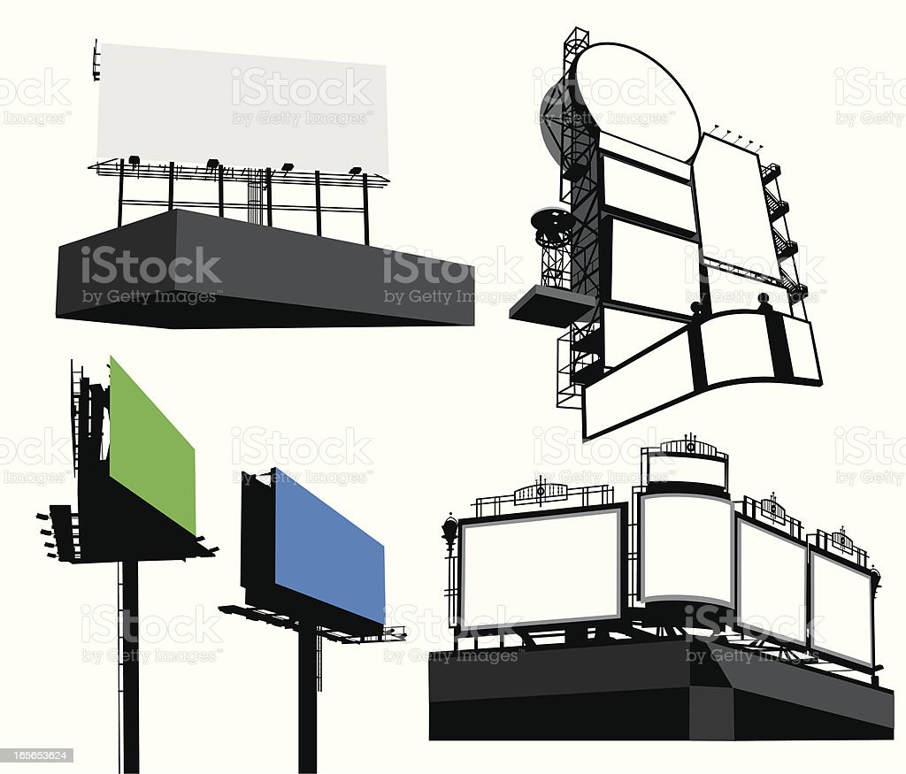 Billboards Vector Silhouette royalty-free stock vector art