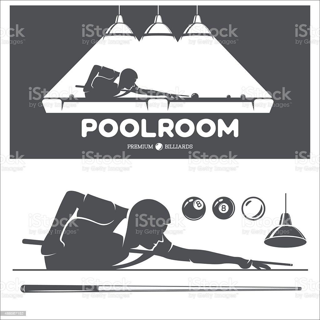 Billiard and pool vector set. vector art illustration