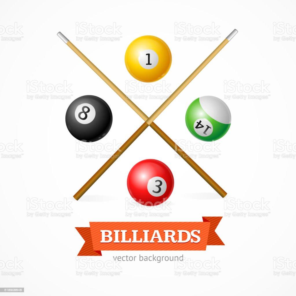 Billiard Balls Concept with Cue. Vector vector art illustration