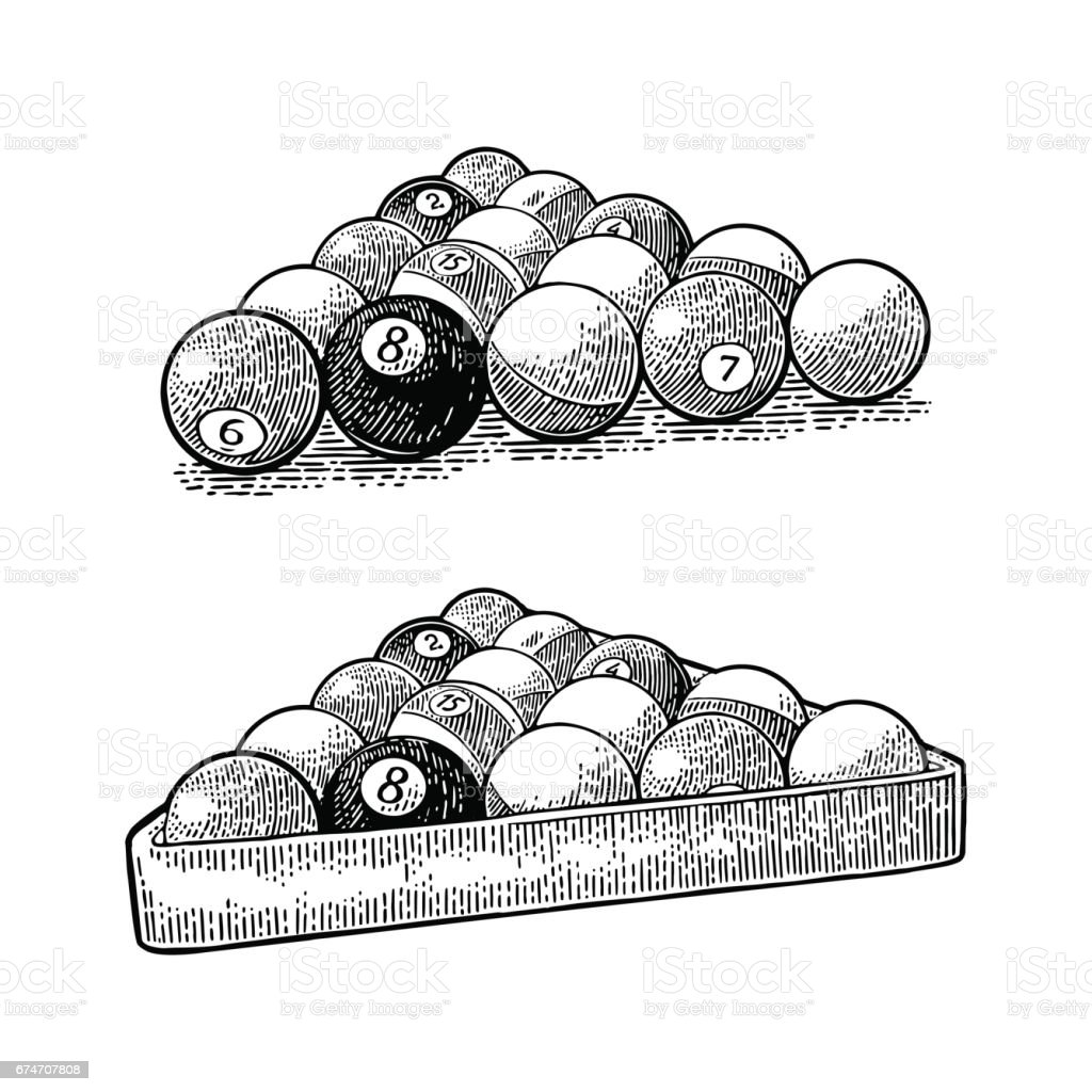 Billiard balls with number in triangle with shadow. Vintage engraving vector art illustration