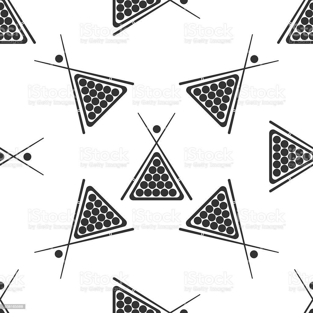 Billiard cue and balls icon pattern vector art illustration