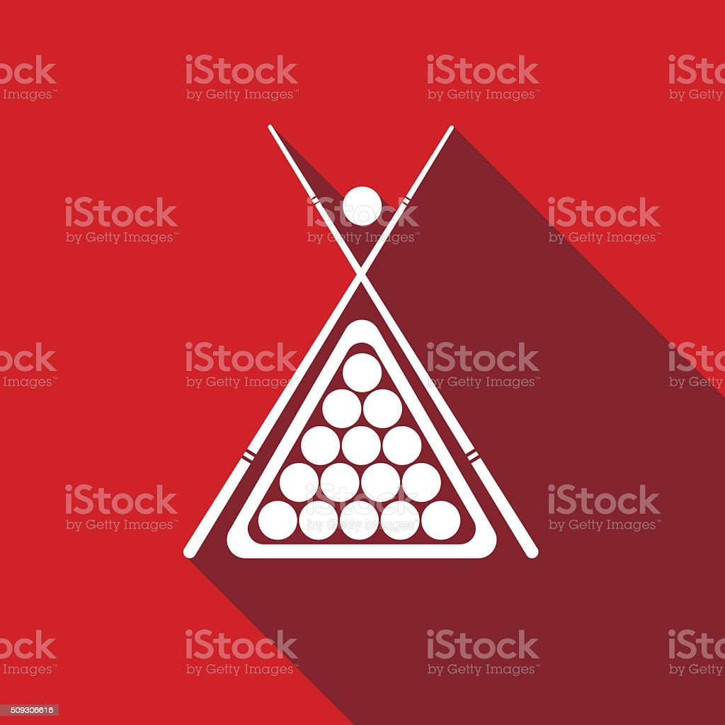 Billiard cue and balls icon with long shadow. vector art illustration
