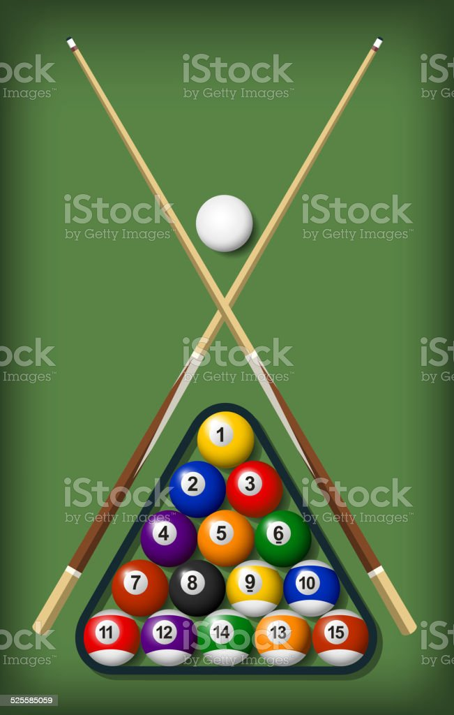 Billiard Pool Snooker Ball Table Game With Cue and Rack vector art illustration