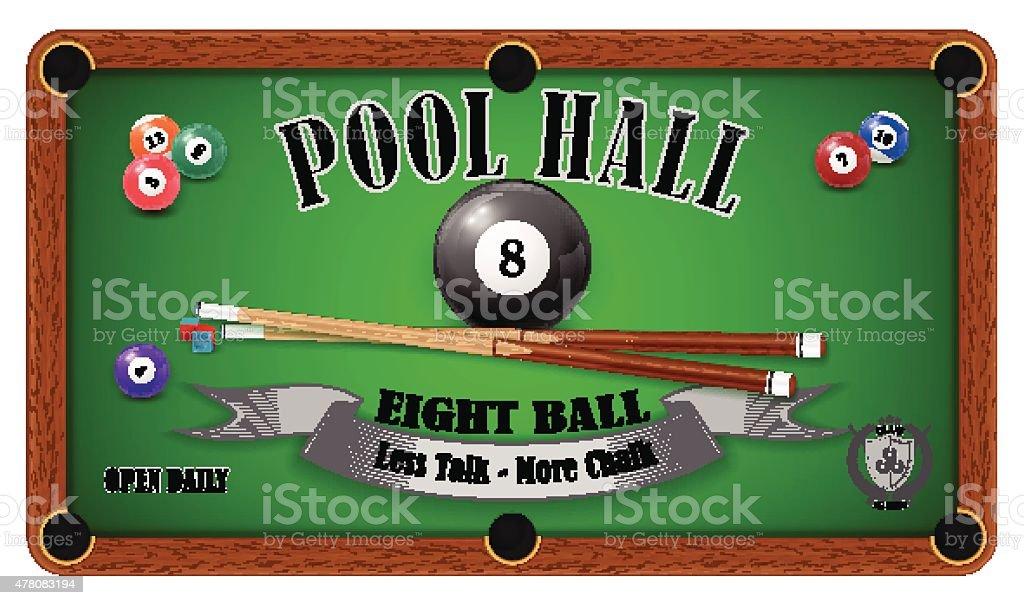 Billiard poster. Pool hall - Eight ball vector art illustration