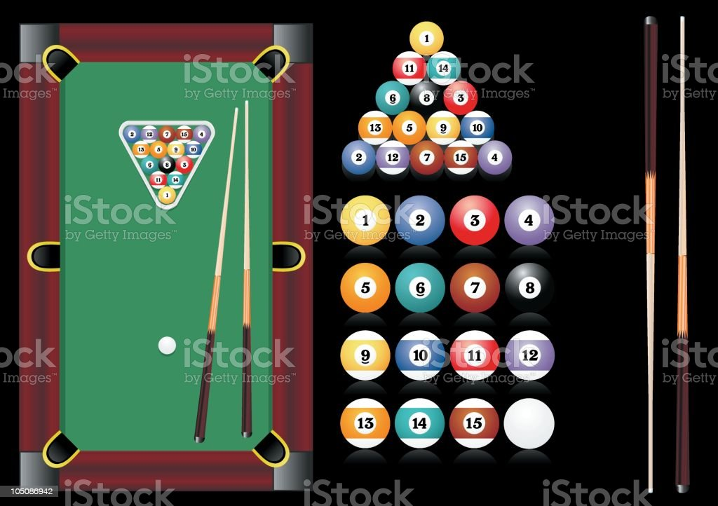billiard set royalty-free stock vector art