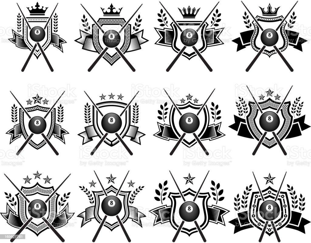 Billiards Ball Badges black and white set vector art illustration