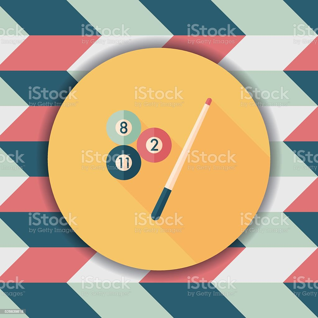 billiards flat icon with long shadow,eps10 vector art illustration