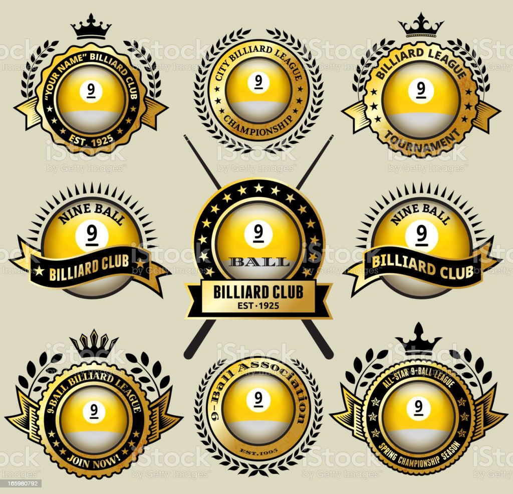 Billiards nine-Ball on black and Gold Badges vector icon set royalty-free stock vector art