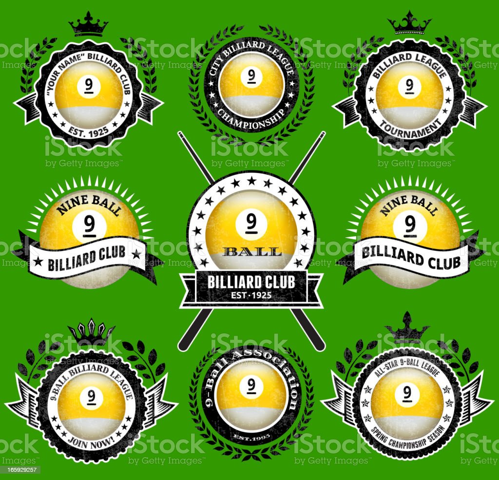 Billiards nine-Ball on black and white Badges vector icon set royalty-free stock vector art