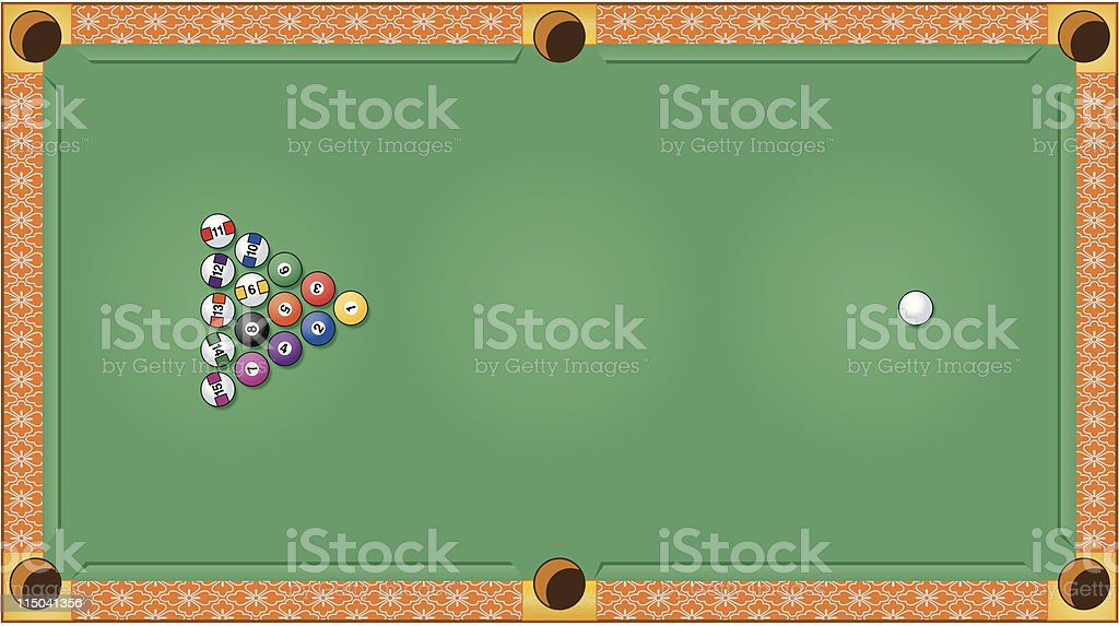 Billiards or Pool Table royalty-free stock vector art