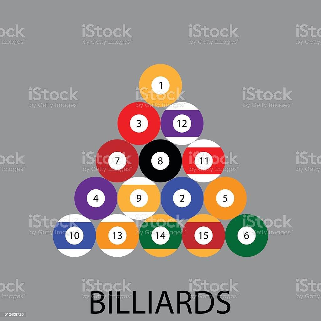 Billiards sport icon flat vector art illustration