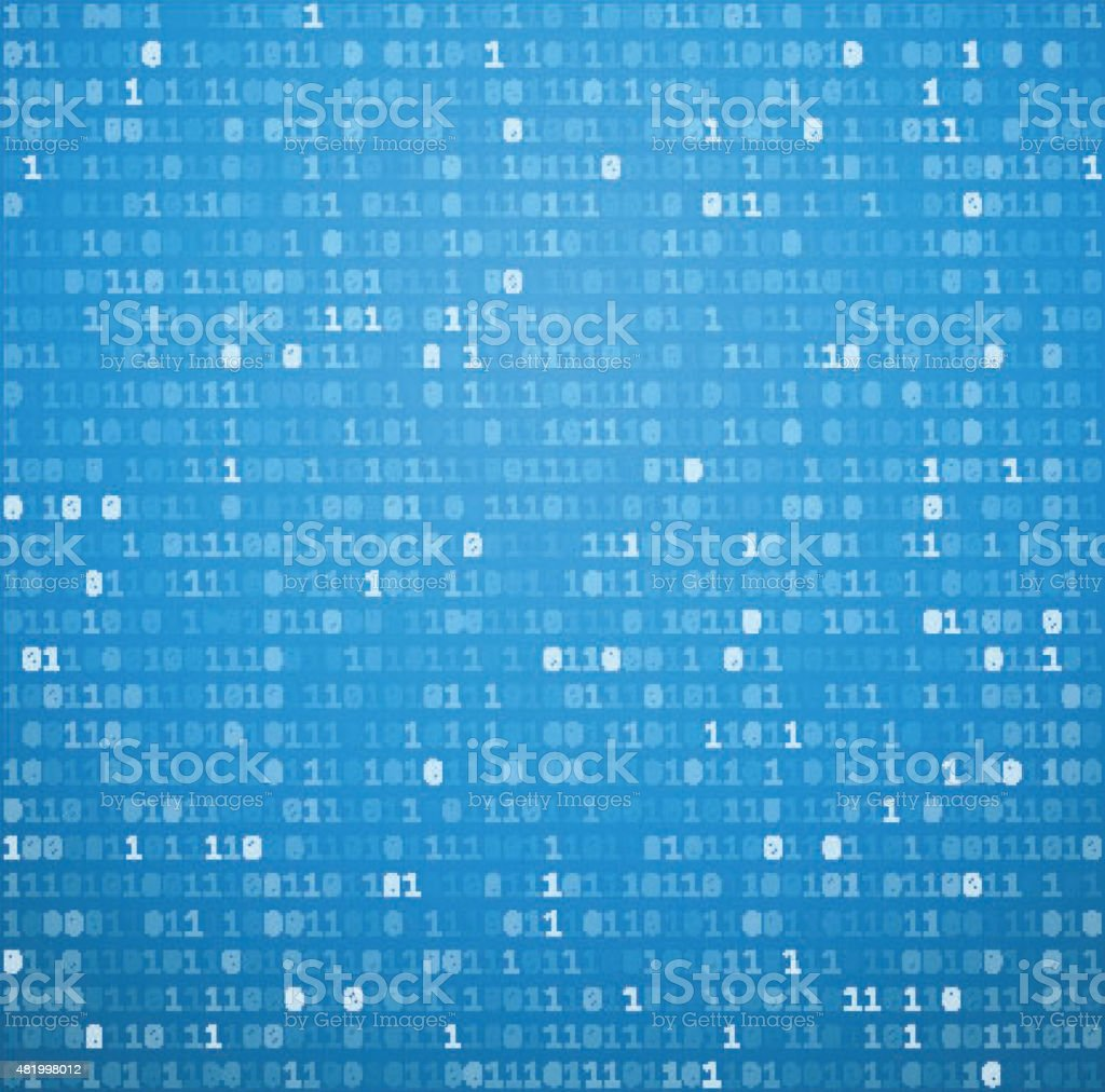 Binary background with blue digits vector art illustration