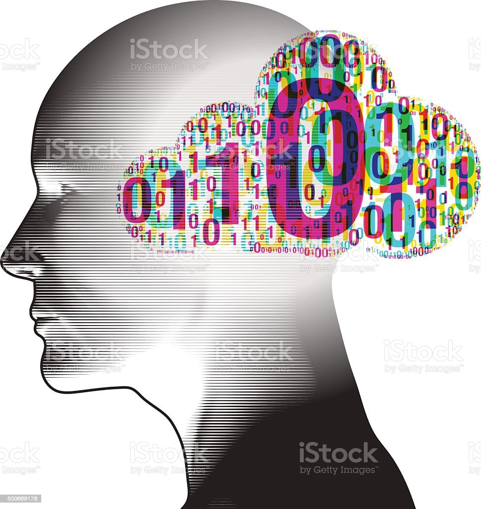 Binary Cloud thinking vector art illustration