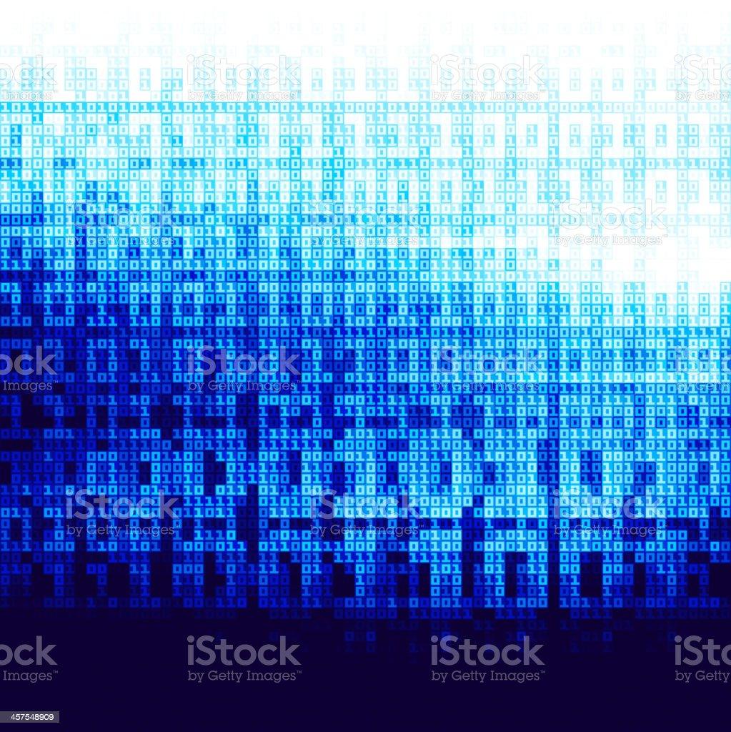Binary code background in blue vector art illustration