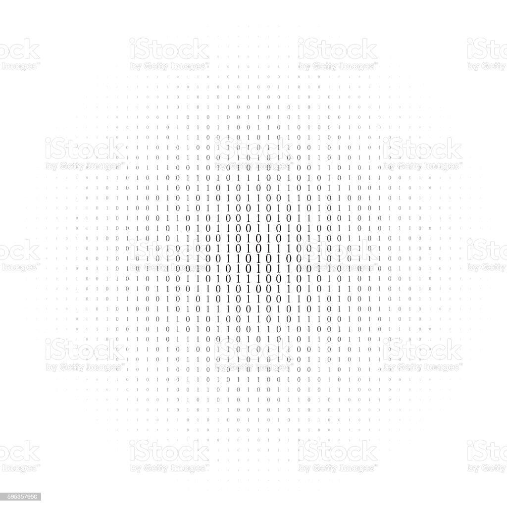 Binary code black and white background vector art illustration