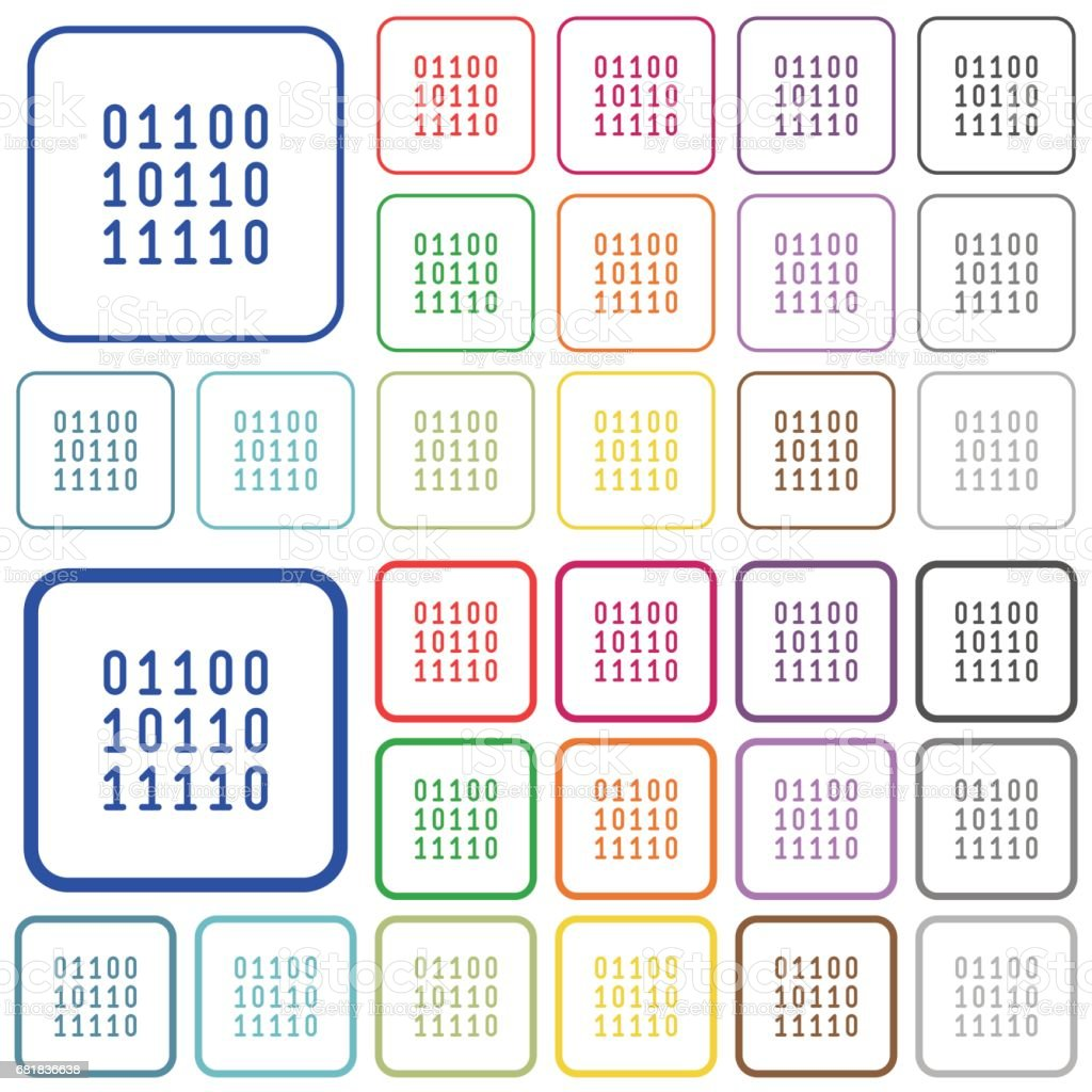 Binary code color outlined flat icons vector art illustration