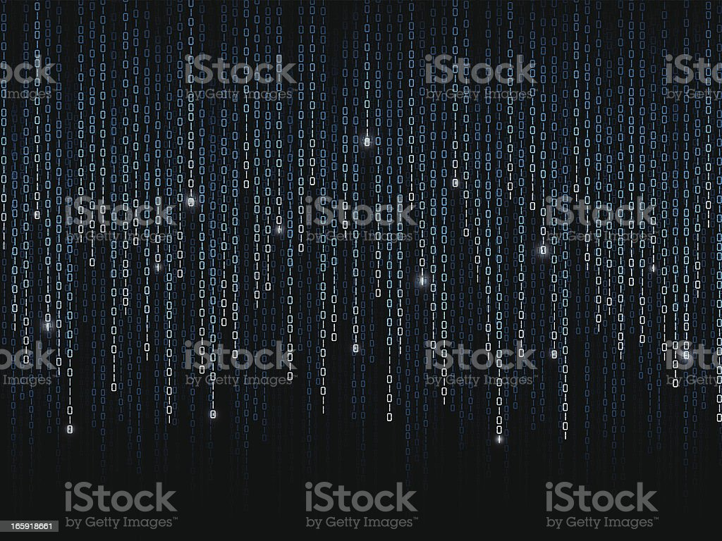 Binary code pattern on black background vector art illustration