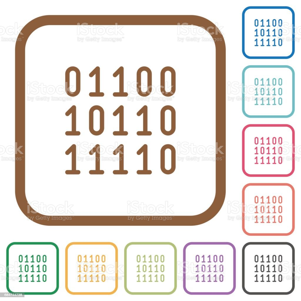 Binary code simple icons vector art illustration