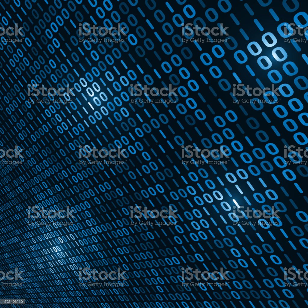 Binary computer code background vector art illustration
