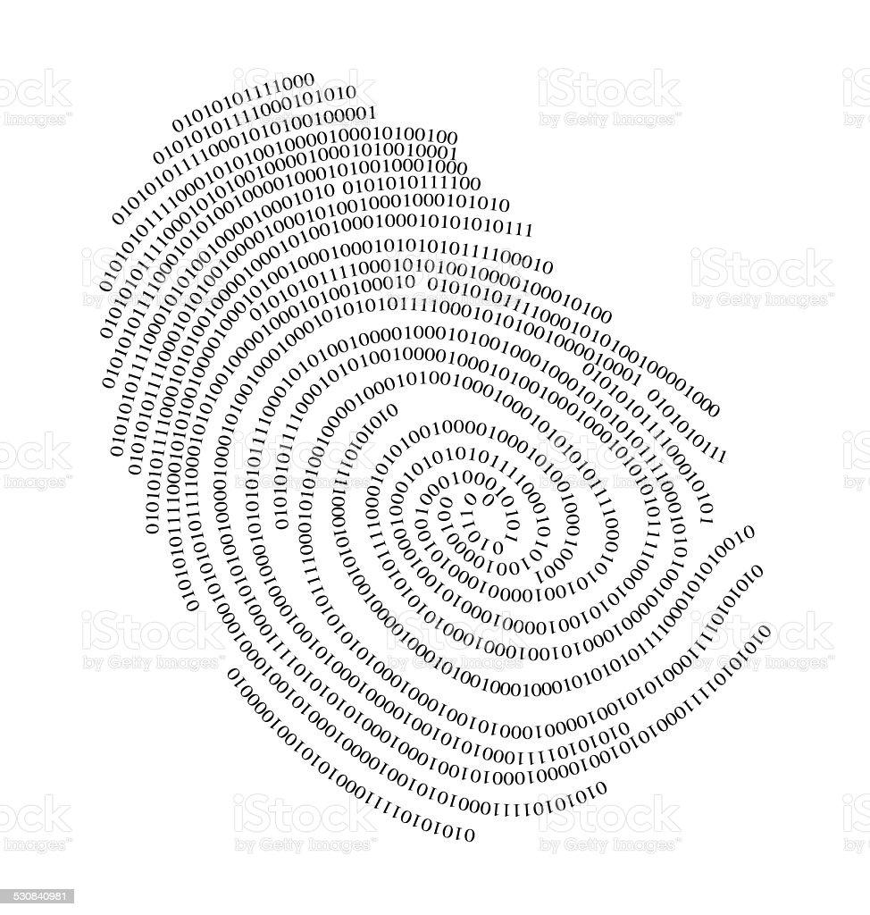 Binary finger print vector art illustration