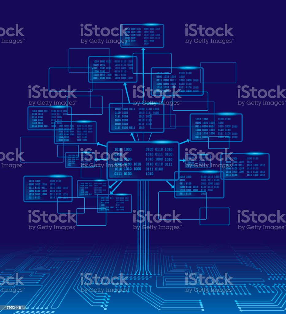 Binary tree vector art illustration