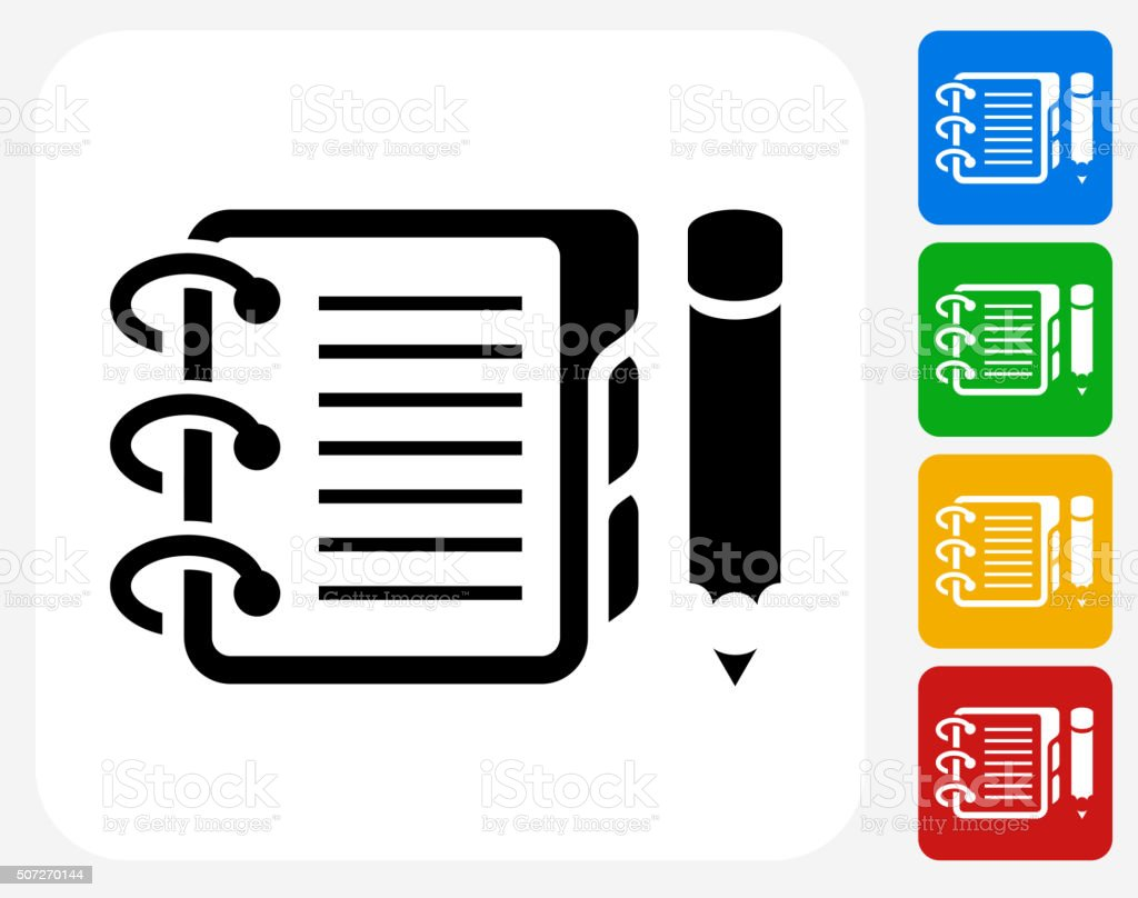 Binder and Pencil Icon Flat Graphic Design vector art illustration