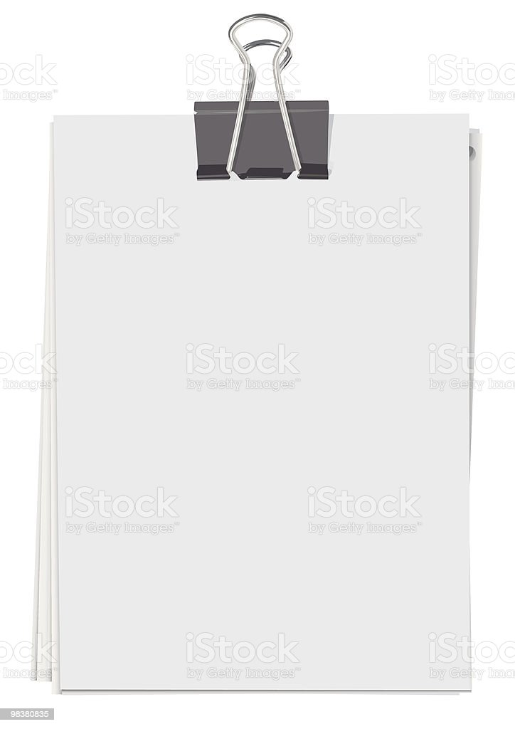 Binder clip and stack of paper sheets royalty-free stock vector art