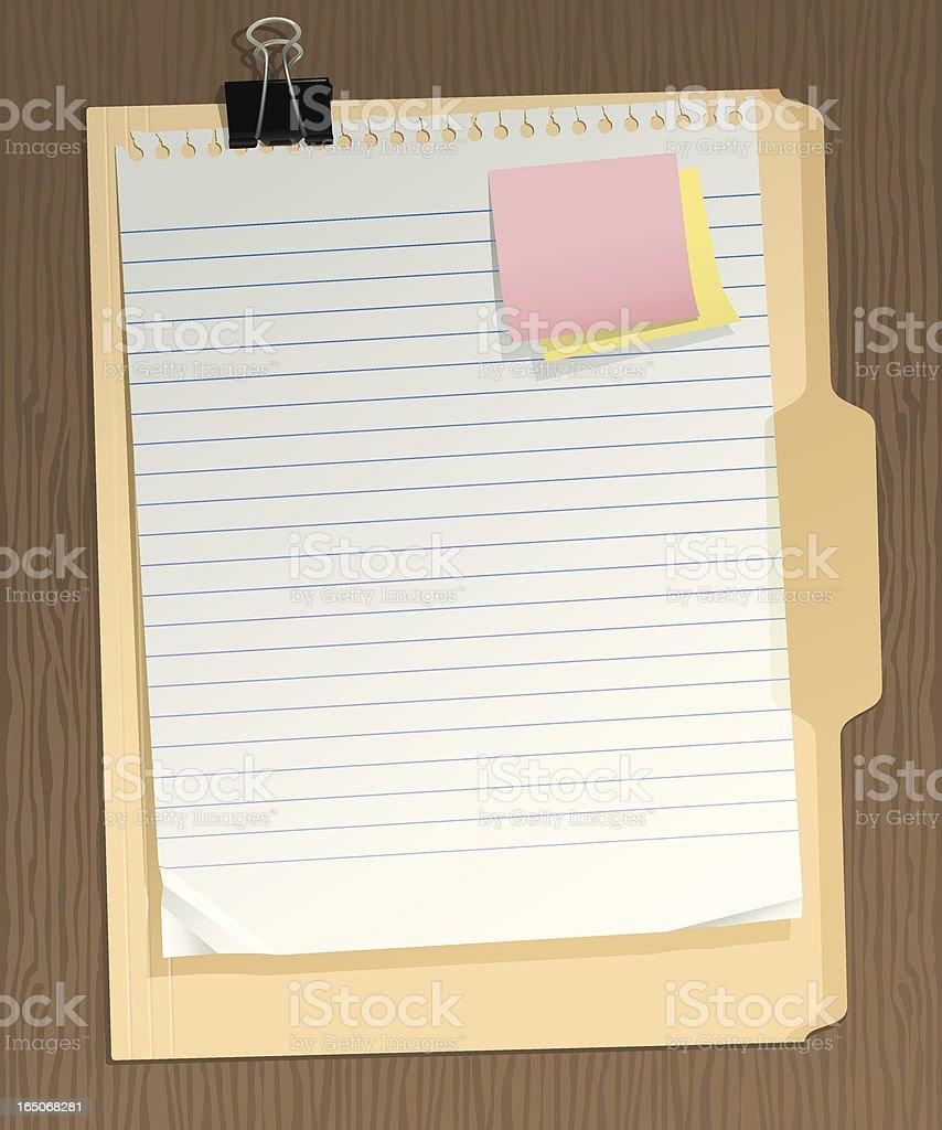 Binder Clip, Paper, Folder, Sticky Notes Vector vector art illustration