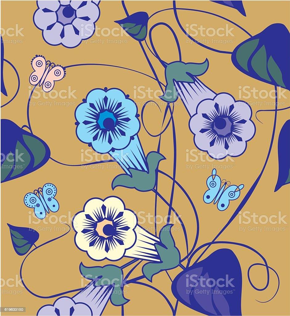 Bindweed flowers. vector art illustration