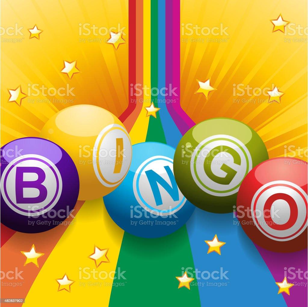 Bingo balls on rainbow and stars vector art illustration