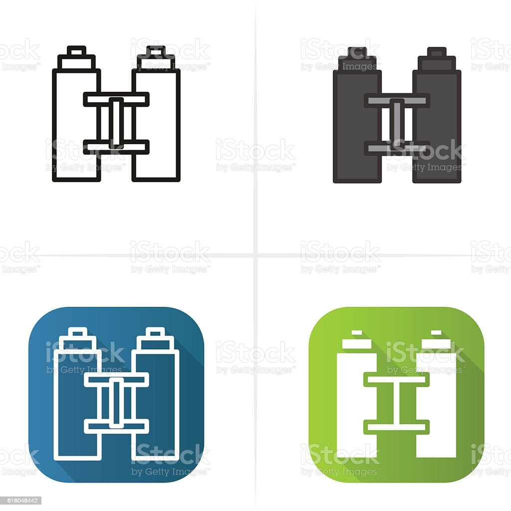 Binoculars icon. Flat, linear and color styles. vector art illustration