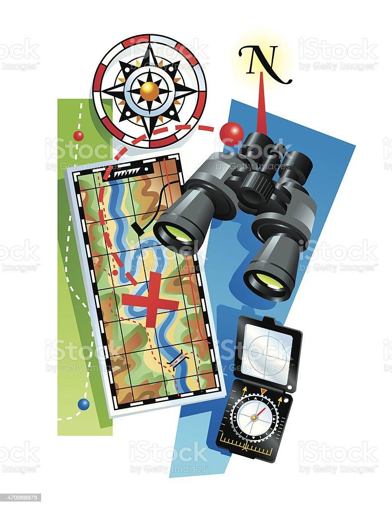 Binoculars Map Compass C vector art illustration