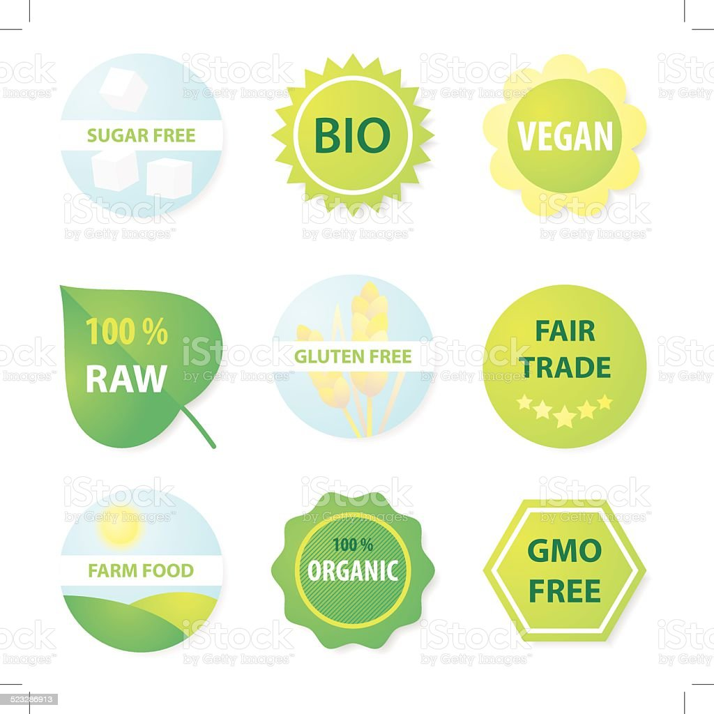Bio and helthy food labels vector art illustration