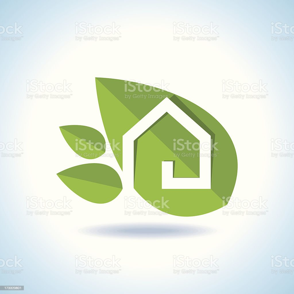 Bio eco green house icon royalty-free stock vector art