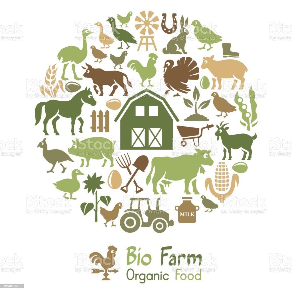 Bio farm Collage vector art illustration
