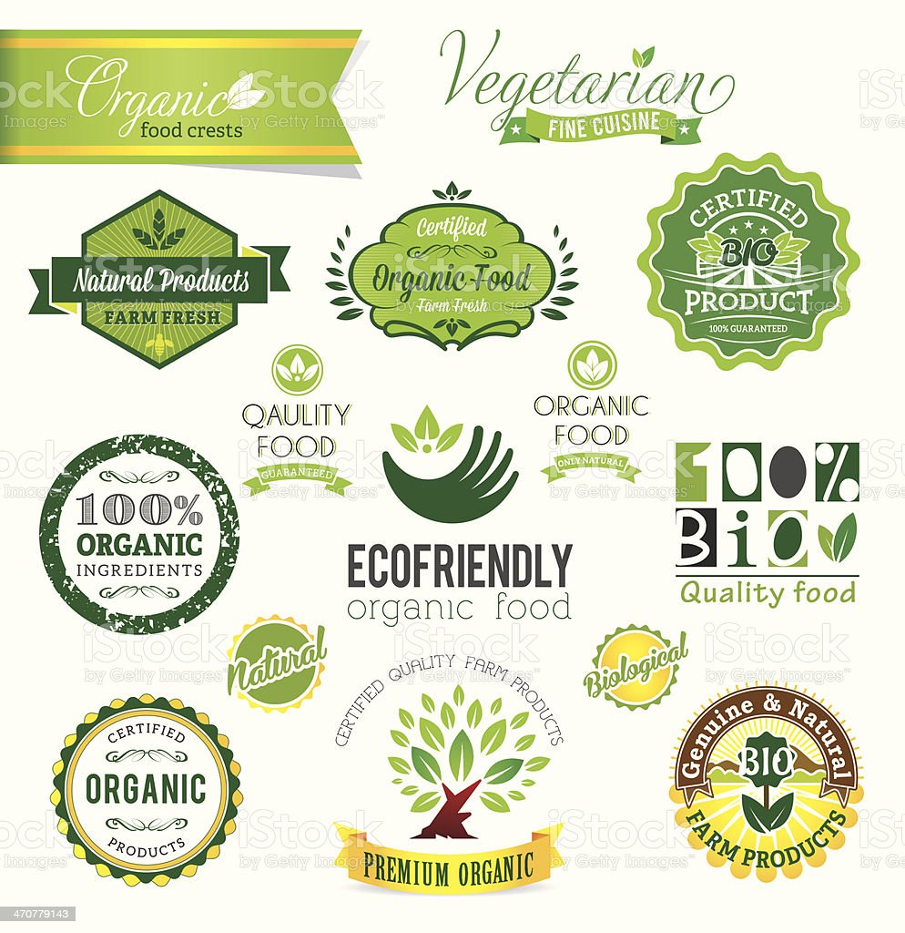 Bio, Natural Farm Fresh crests, icons and badges. vector art illustration