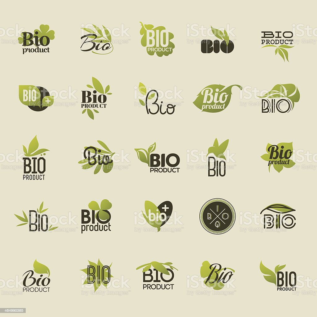 Bio product. Set of labels and emblems vector art illustration