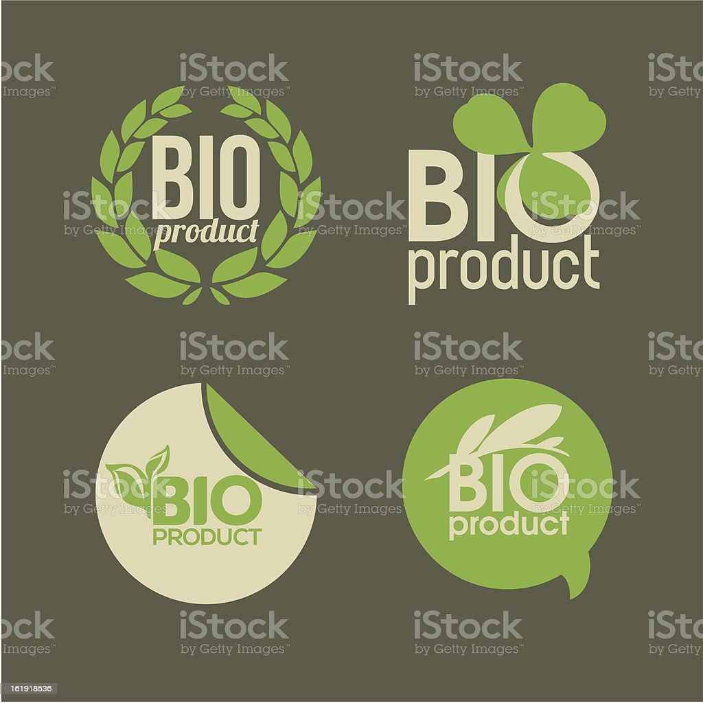 Bio product - vector labels and badges royalty-free stock vector art