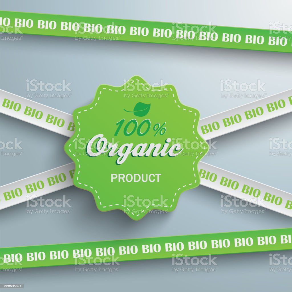 Bio Sticker Lines 100 Organic vector art illustration