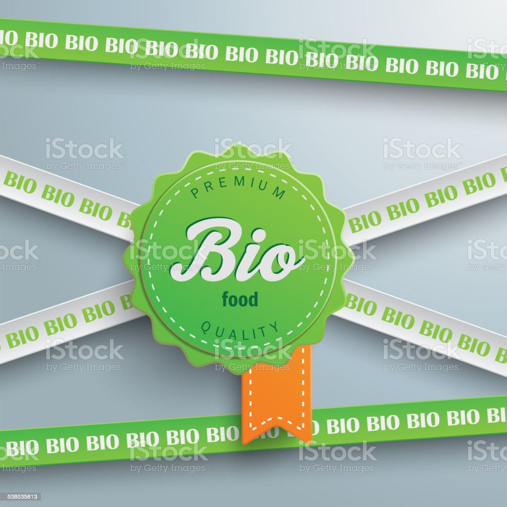 Bio Sticker Lines Bio Food vector art illustration