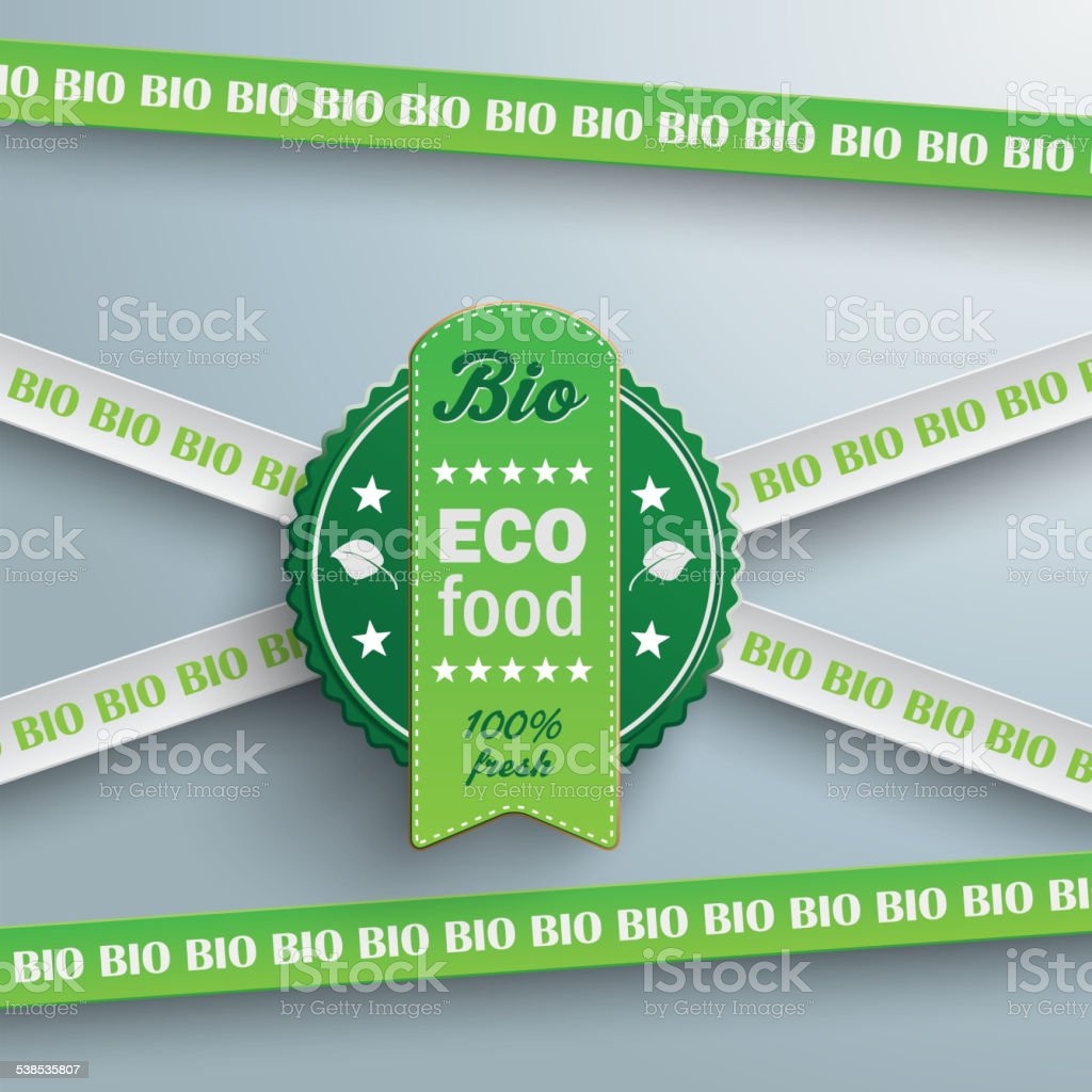 Bio Sticker Lines Eco Food vector art illustration