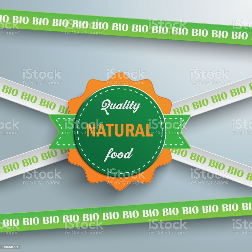 Bio Sticker Lines Natural Food vector art illustration