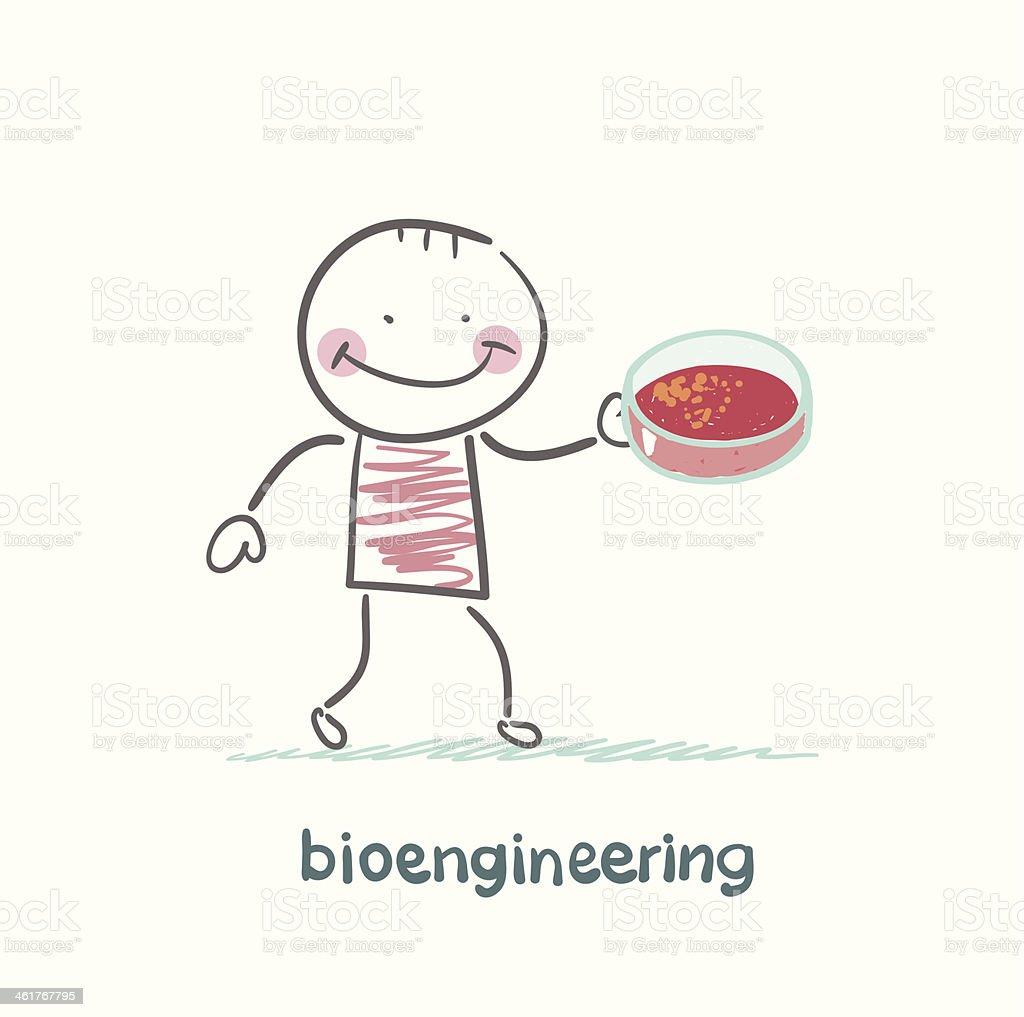 Bioengineer Holding Petri Dish royalty-free stock vector art