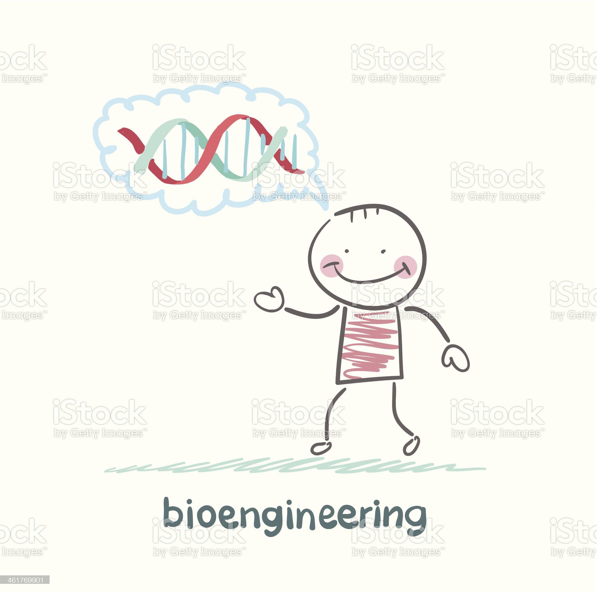 bioengineer thinks of human DNA royalty-free stock vector art