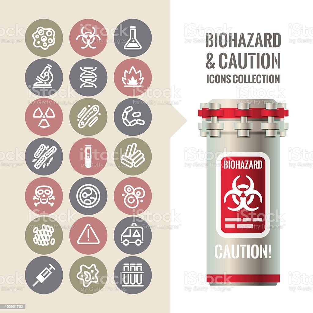 Biohazard and Caution Icons Collection vector art illustration